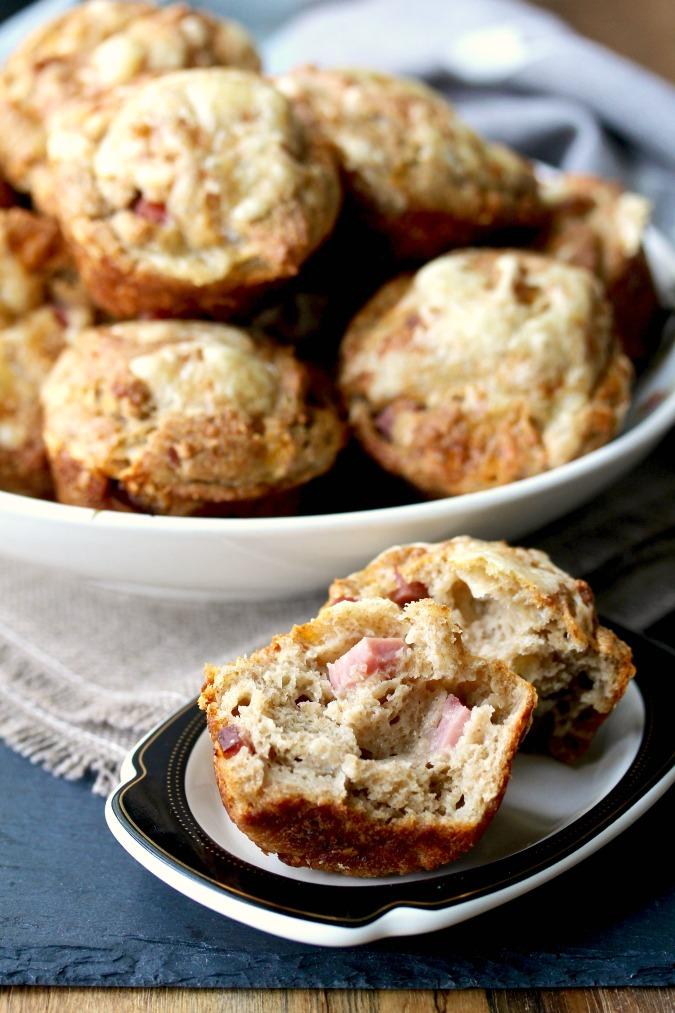 Ham and Cheese Rye Muffins #muffins #hamandcheese #swisscheese