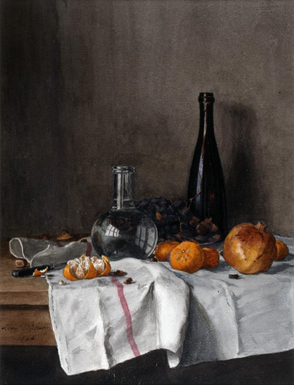 Léon Bonvin  French, 1864  Still Life with Wine, Water, Fruit, Nuts as seen on linen & lavender (l&l)