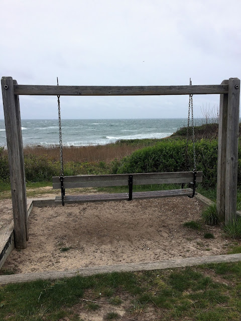bench swing overlooking Long Island Sound, Montauk Point, NY