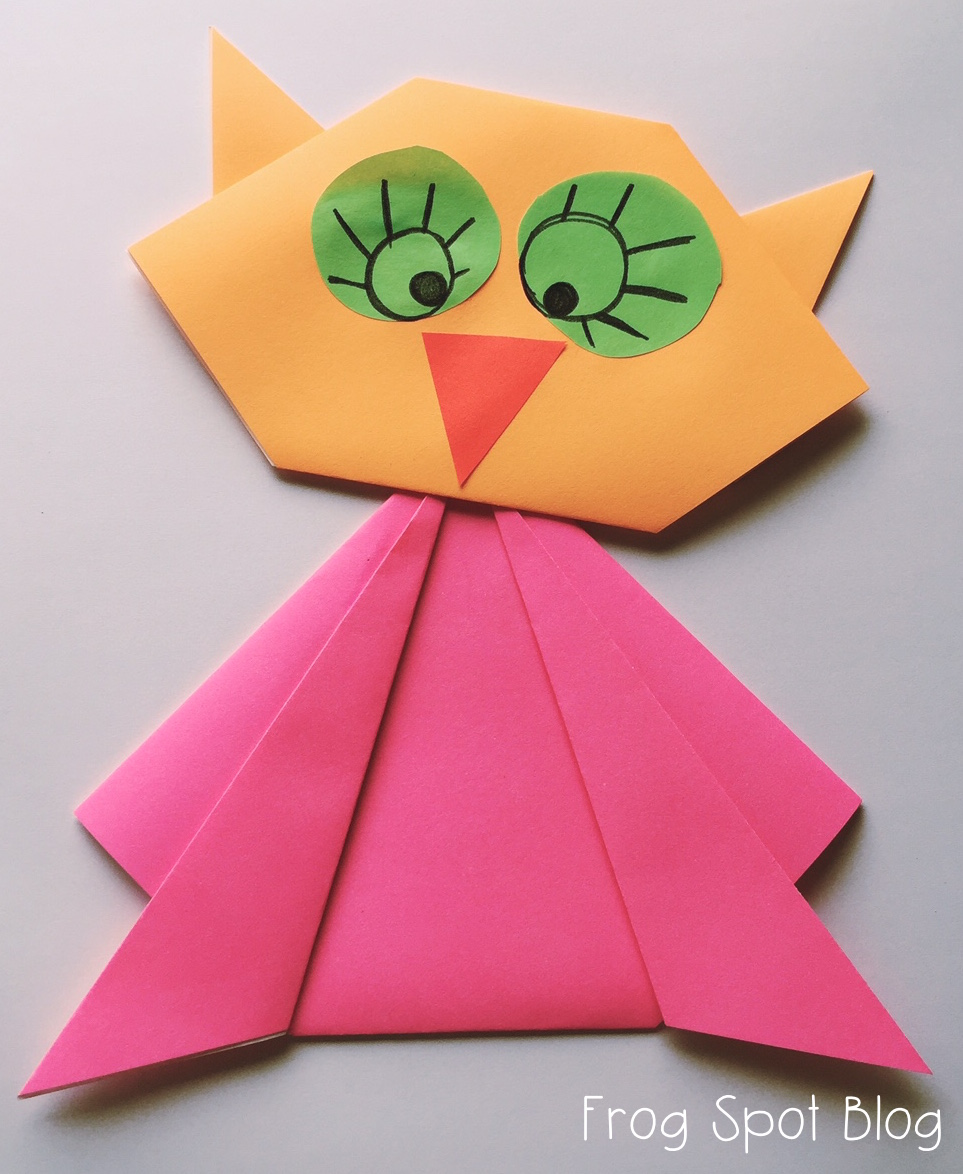 owl paper folding craft from the pond