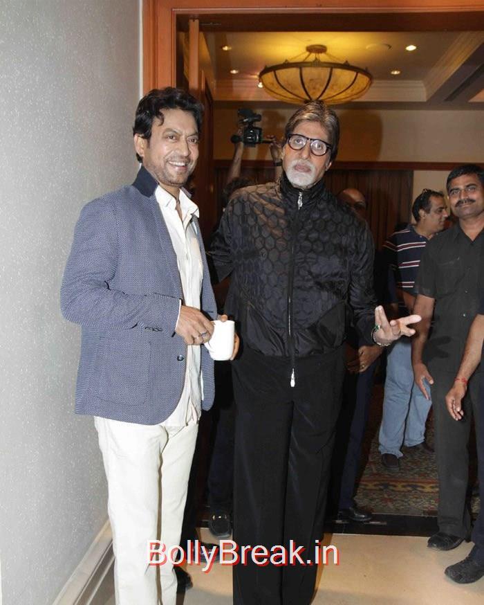 Irrfan Khan, Amitabh Bachchan, Deepika Padukone in Jeans & Top at Piku movie Press Conference