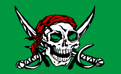A pirate's skull backed by crossed swords.