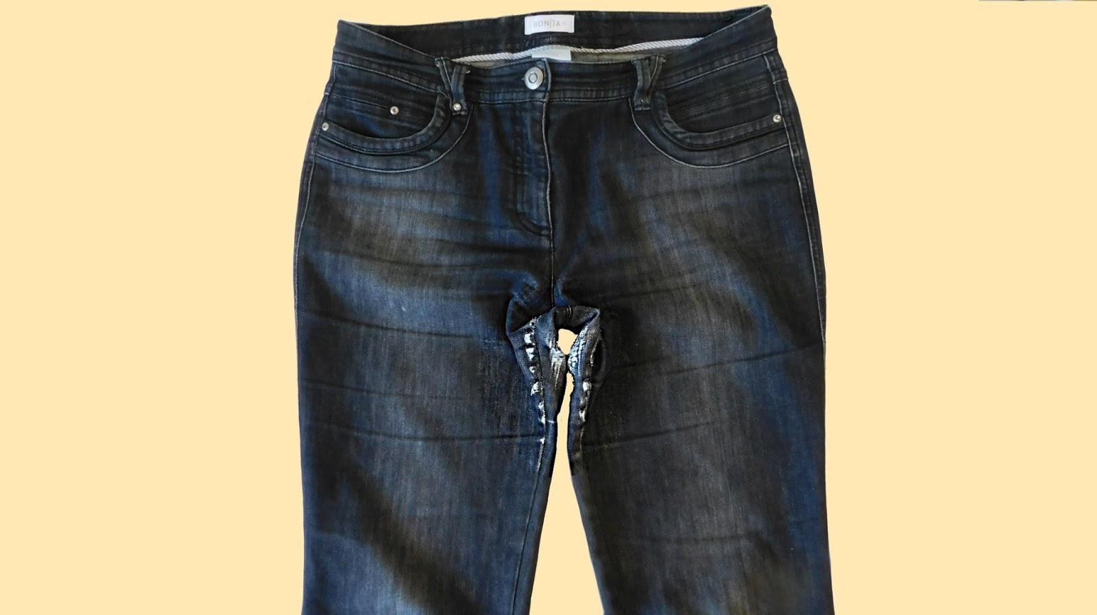 Jeans Flicken Schritt