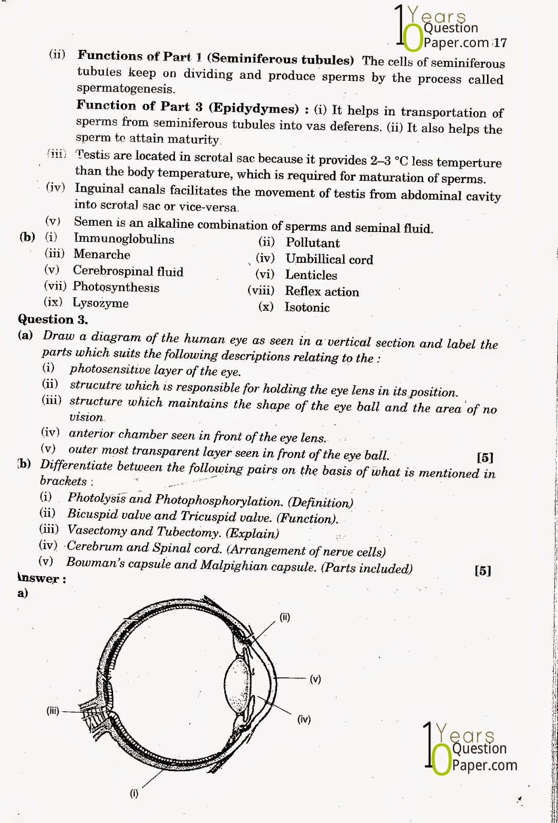 icse class 10th Biology solved question paper 2013