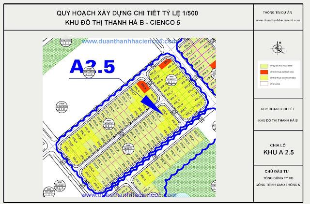Sơ đồ khu A2.5 dự án Thanh Hà Cienco 5 Hà Đông