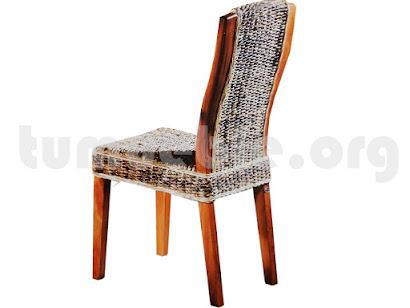 silla comedor en teca y rattan j915