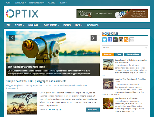 Optix Blogger Theme