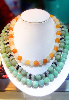 ball chain made in Burma with green and orange color jade