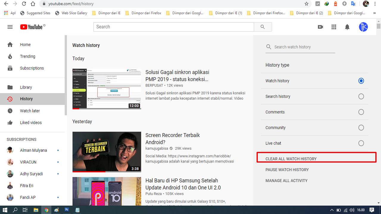 2 Cara Menghapus Riwayat Video Youtube
