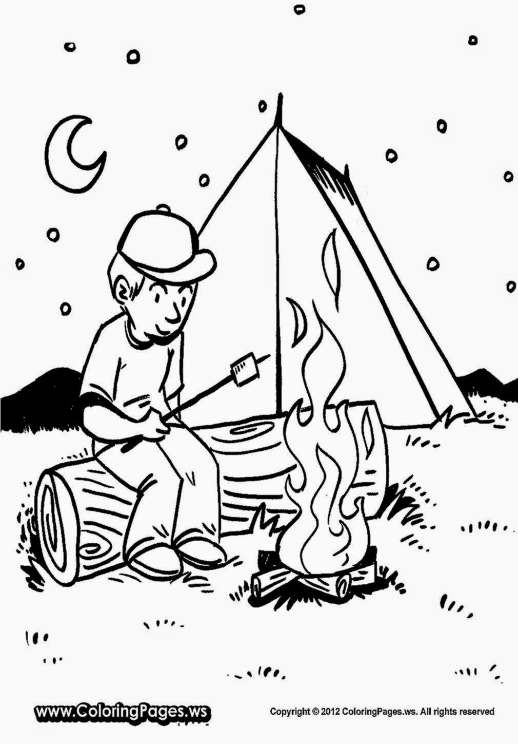 Camping coloring sheets free coloring sheet for Camp coloring pages