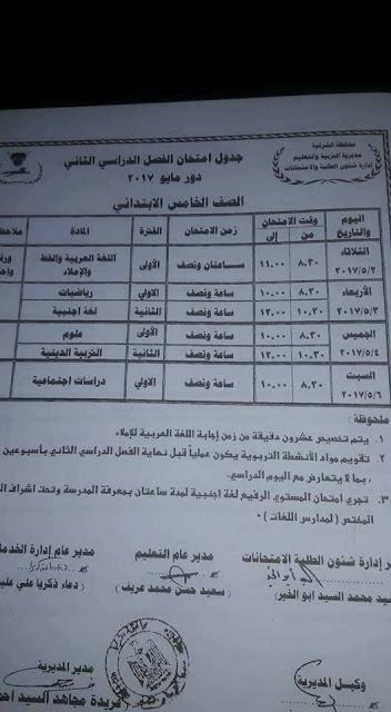 جدول امتحانات الصف الخامس الابتدائى محافظة الشرقية الترم الثانى 2017