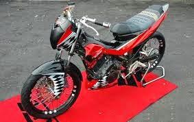 modifikasi motor satria fu warna merah hitam