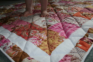 Making a simple patchwork quilt to be wrapped around as a hug by fabricandflowers