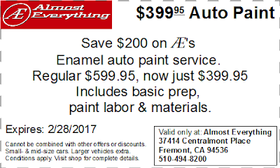 Coupon $399.95 Auto Paint Sale February 2017