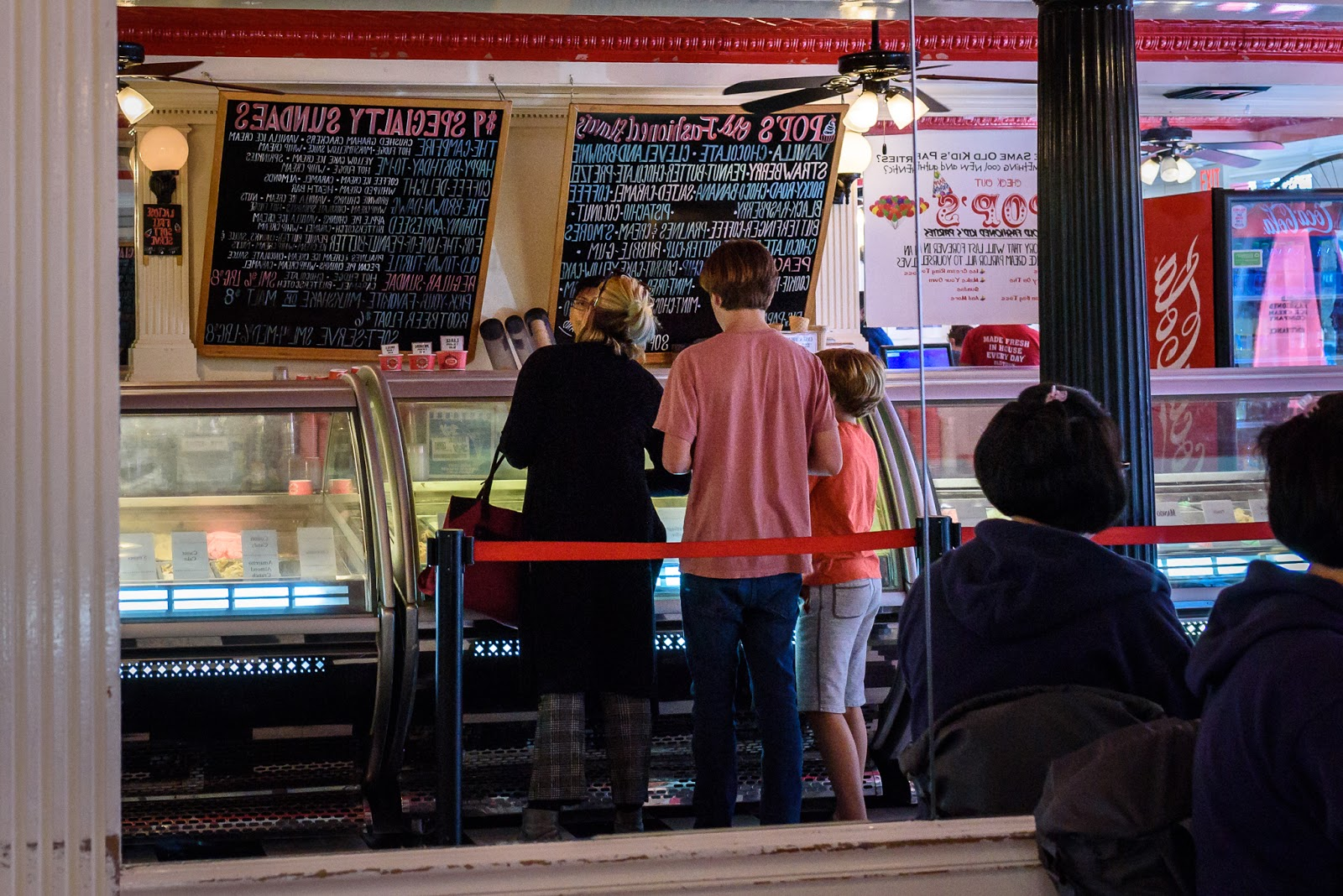 Backwards mirror image of Pop's Old Fashioned Ice Cream from Afternoon in the Life session in Old Town Alexandria from Diana Sherblom Photography