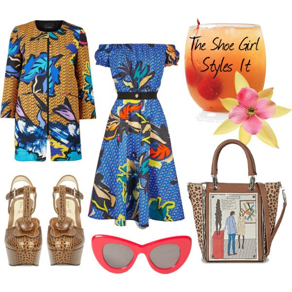 Polyvore outfit set for Orla Kiely platform shoes with retro printed dress and coat and cat eye sunglasses