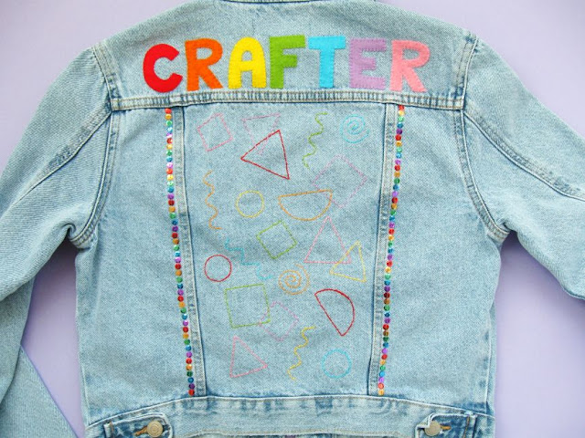 Customising a denim jacket with lettering, sequins and embroidery