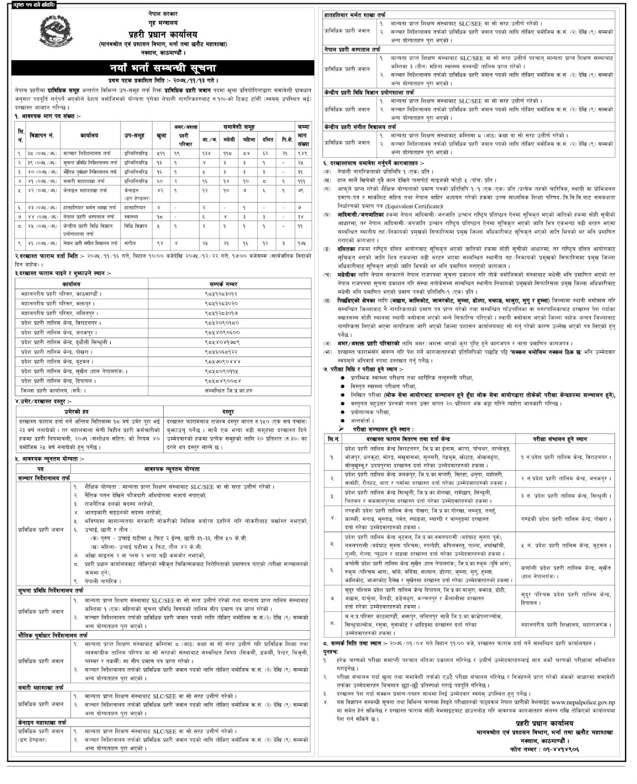 Nepal Police Announced A Big Number of Vacancy on Various Posts