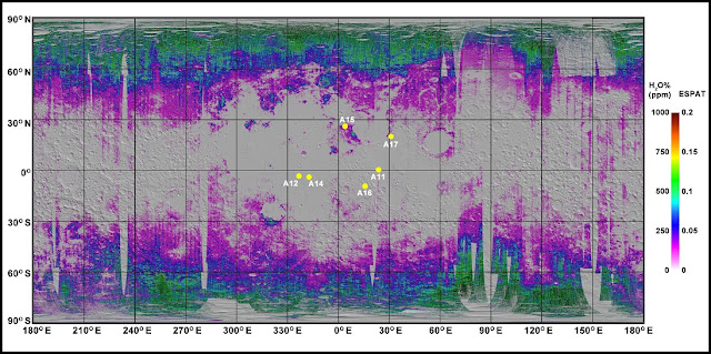 The map shows a general trend of increasing water content (purple, green and yellos) toward the poles. The dots mark the Apollo landing sites. Credit: Brown University