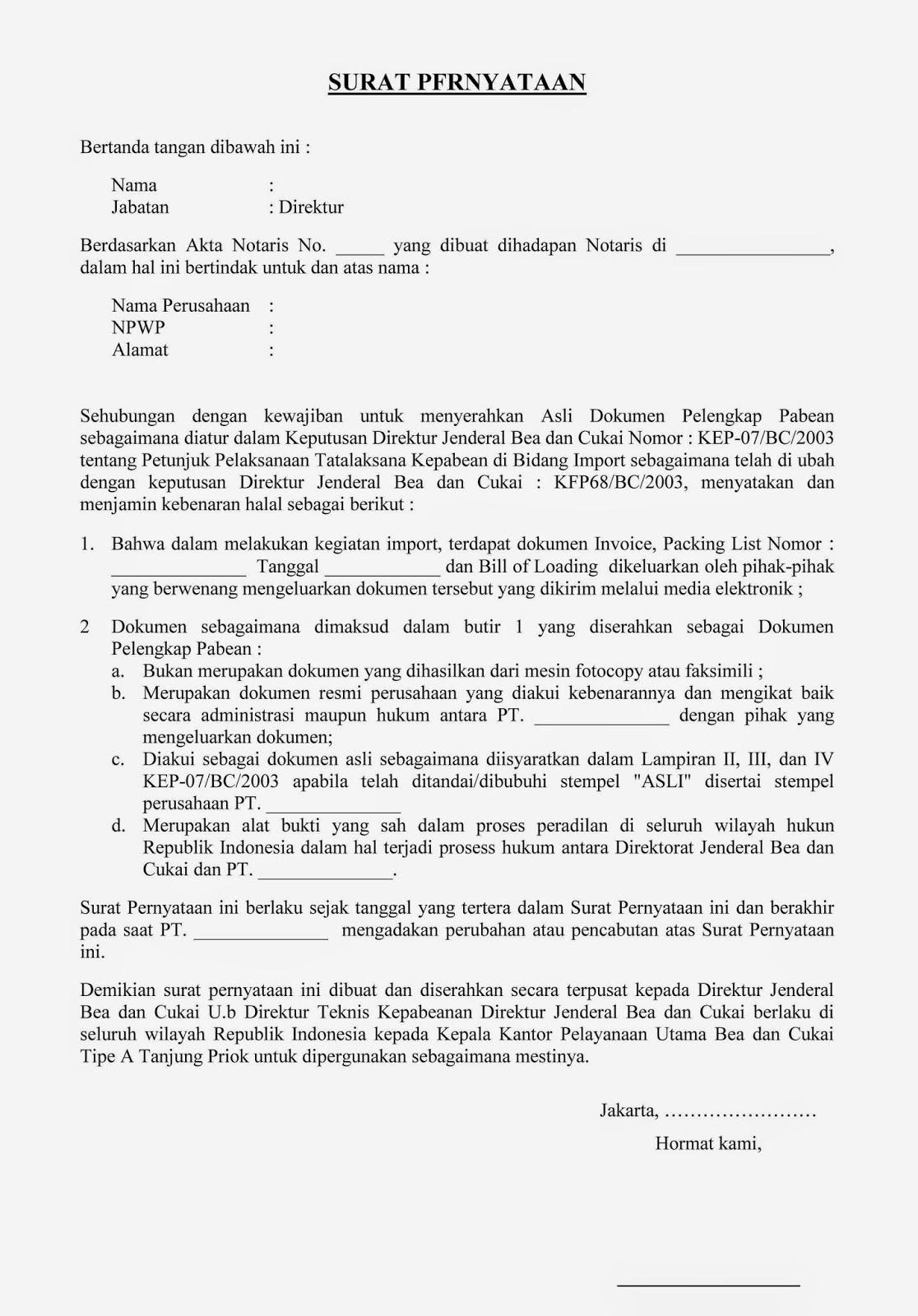 Berikut Contoh Surat Pernyataan Se 21