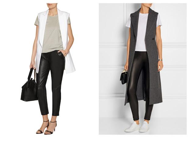 Кожаные брюки и леггинсы с удлиненным жилетом или жакетом без рукавов