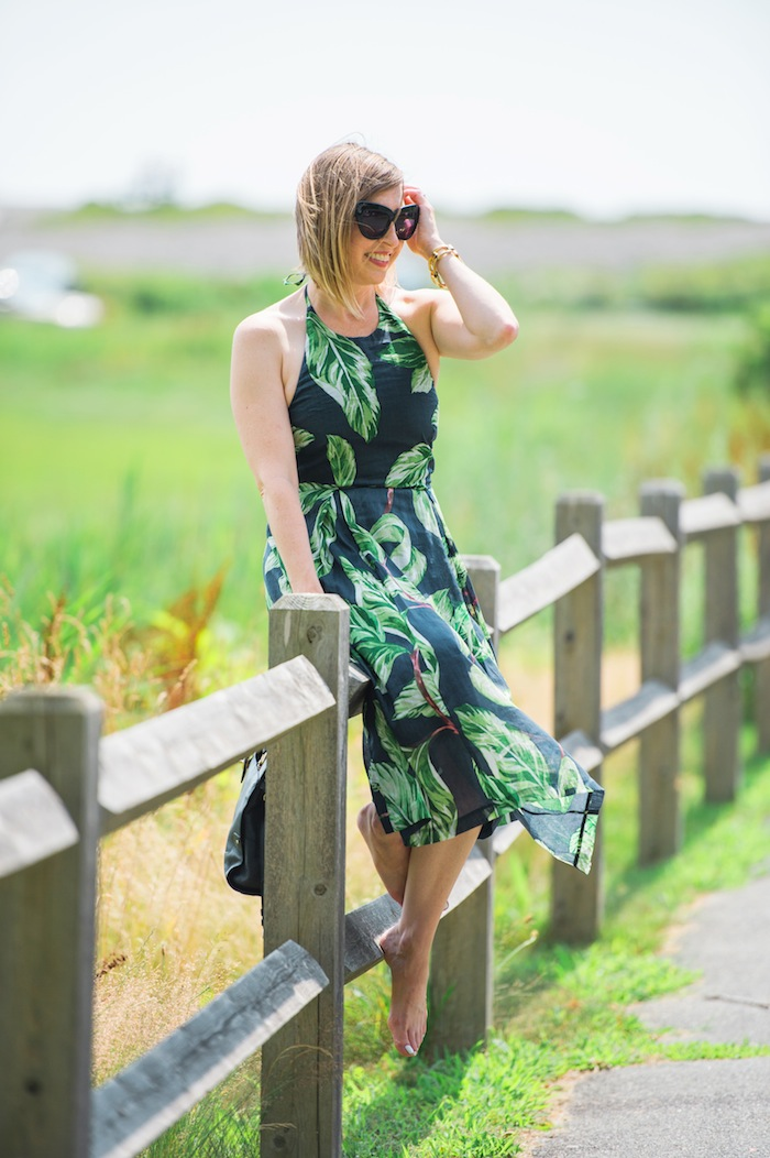palm print halter dress