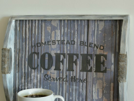 A Photograph Tray Transformed Into A Coffee Tray With Rustic Charm