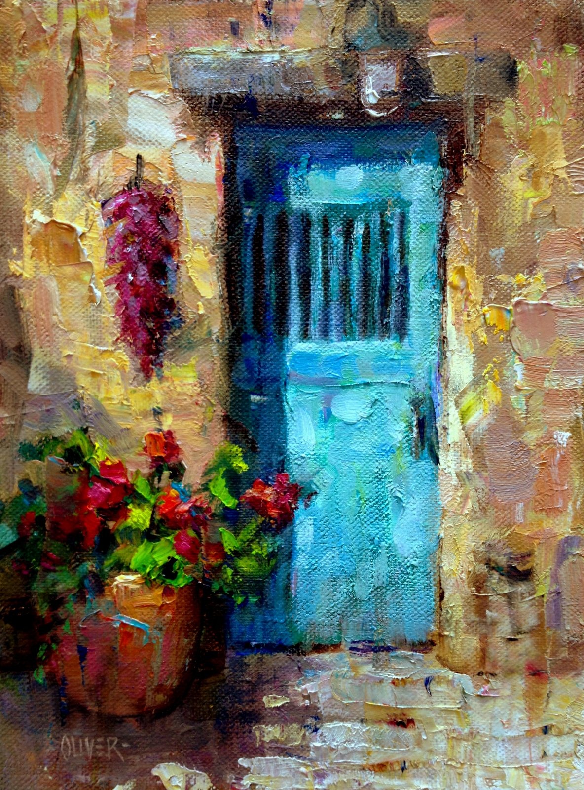 Southwest Acrylic Painting Door With Peppers