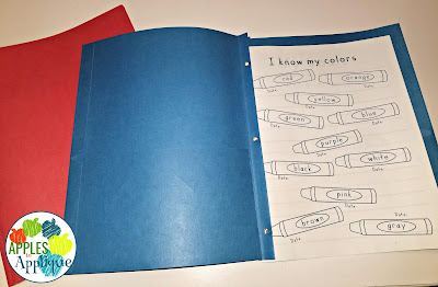 Keeping Organized with Two Half Day Classes. Color coded data notebooks. | Apples to Applique