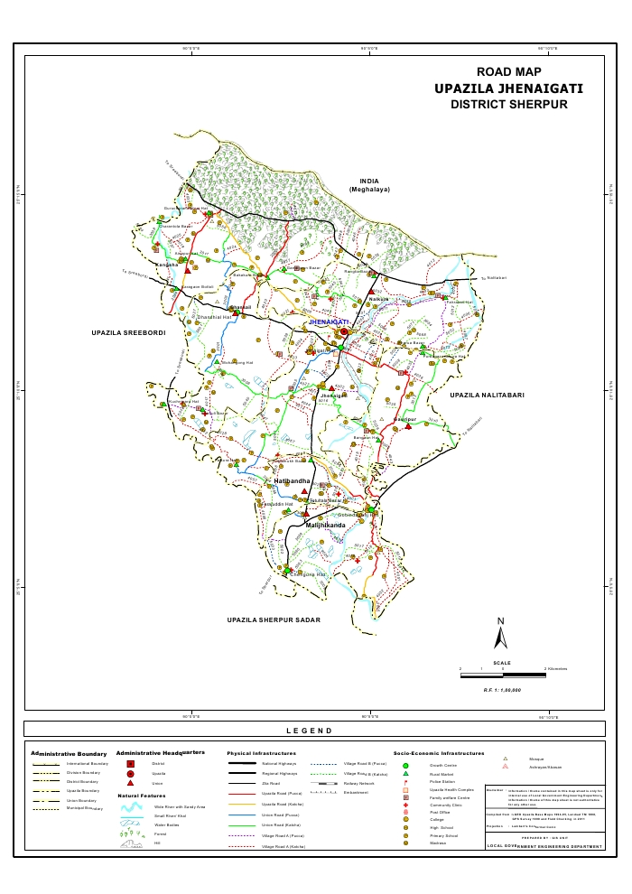 Jhenaigati Upazila Road Map Sherpur District Bangladesh
