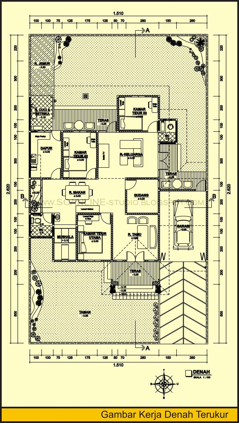gambar denah rumah dan ukuran keterangan 1