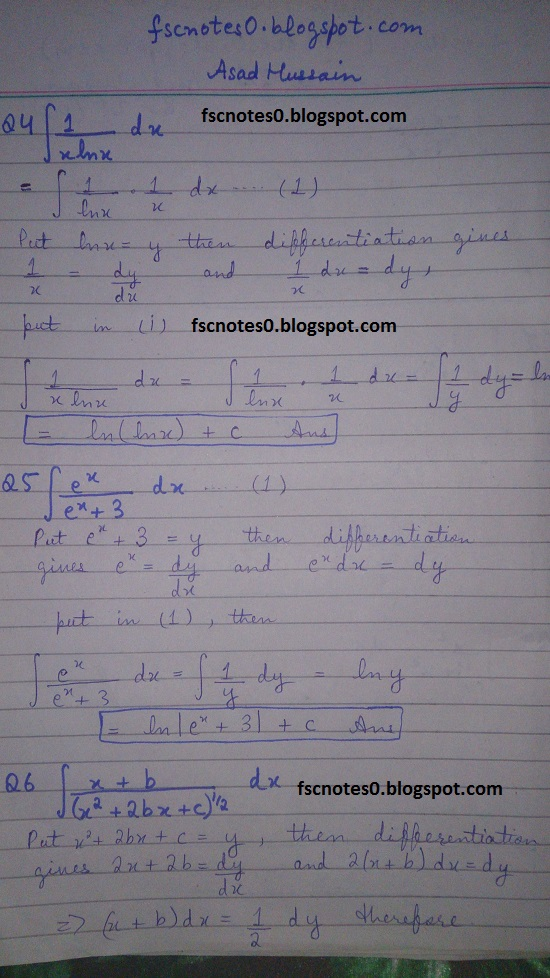 Premise Indicator Words: FSc ICS Notes Math Part 2 Chapter 3 Integration Exercise 3