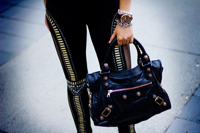47b9dd5cc Charlotte Ronson blush top with embellished shoulder pads, GoJane  embellished fishnet leggings, awesome leggings