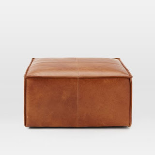Leather ottoman pouffe for family media room design