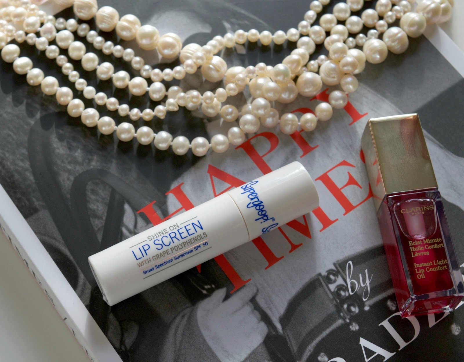 clarins lip gloss - supergoop lip screen