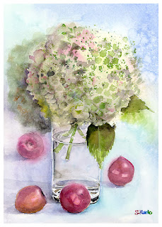 Withered  Hydrangea.  Watercolor. 枯れたあじさい 水彩画