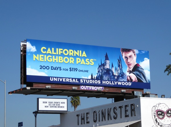 Harry Potter Universal Studios California pass billboard