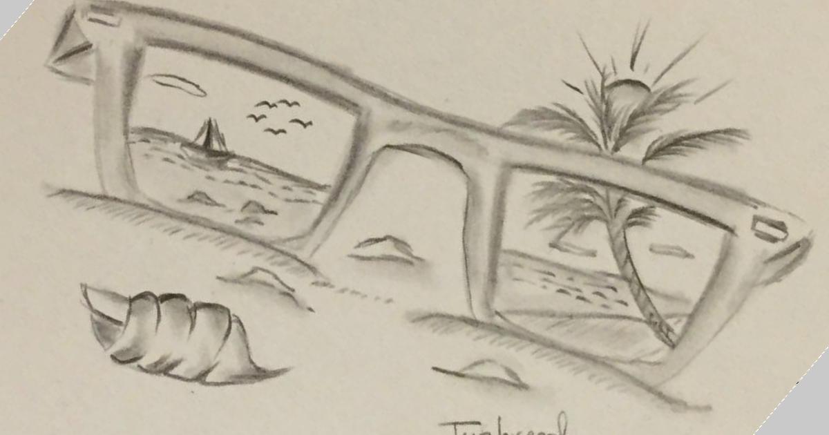 مدونة أرسم بالرصاص تعلم رسم منظر طبيعي بالرصاص بشكل بسيط لشاطئ