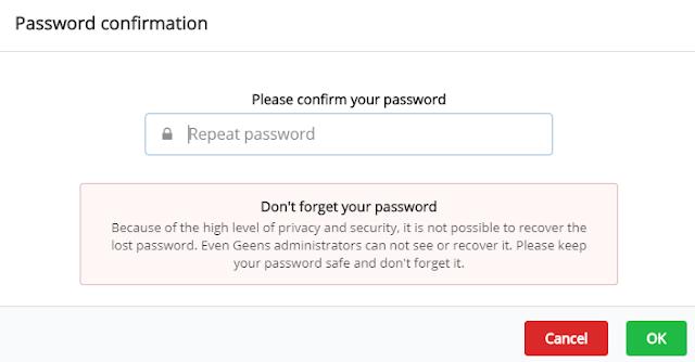 Xác nhận mật khẩu Geens