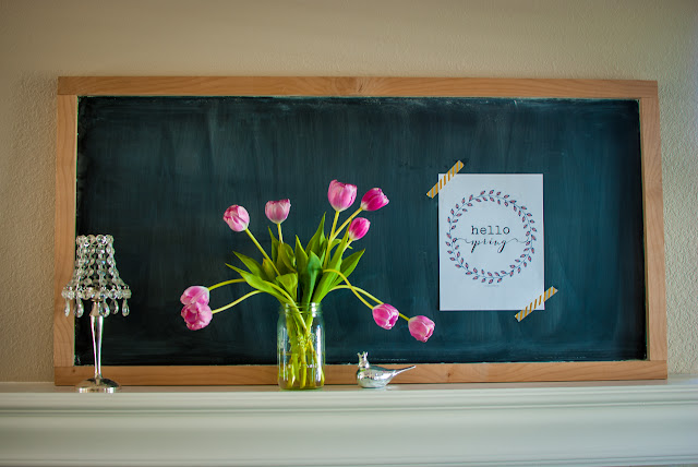 Farmhouse Style Chalkboard Spring Mantle Display
