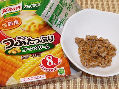 納豆にクノールカップスープ『つぶたっぷりコーンクリーム』