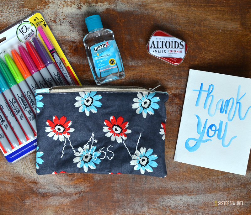 teacher gift idea easy zipper bag with child embroidery