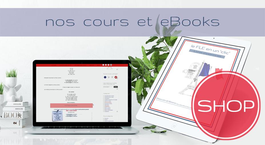 Cours Intensifs personnalises français online le fle en un clic, ebooks shop