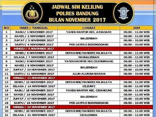 Jadwal SIM Keliling Polres Bandung Bulan November 2017