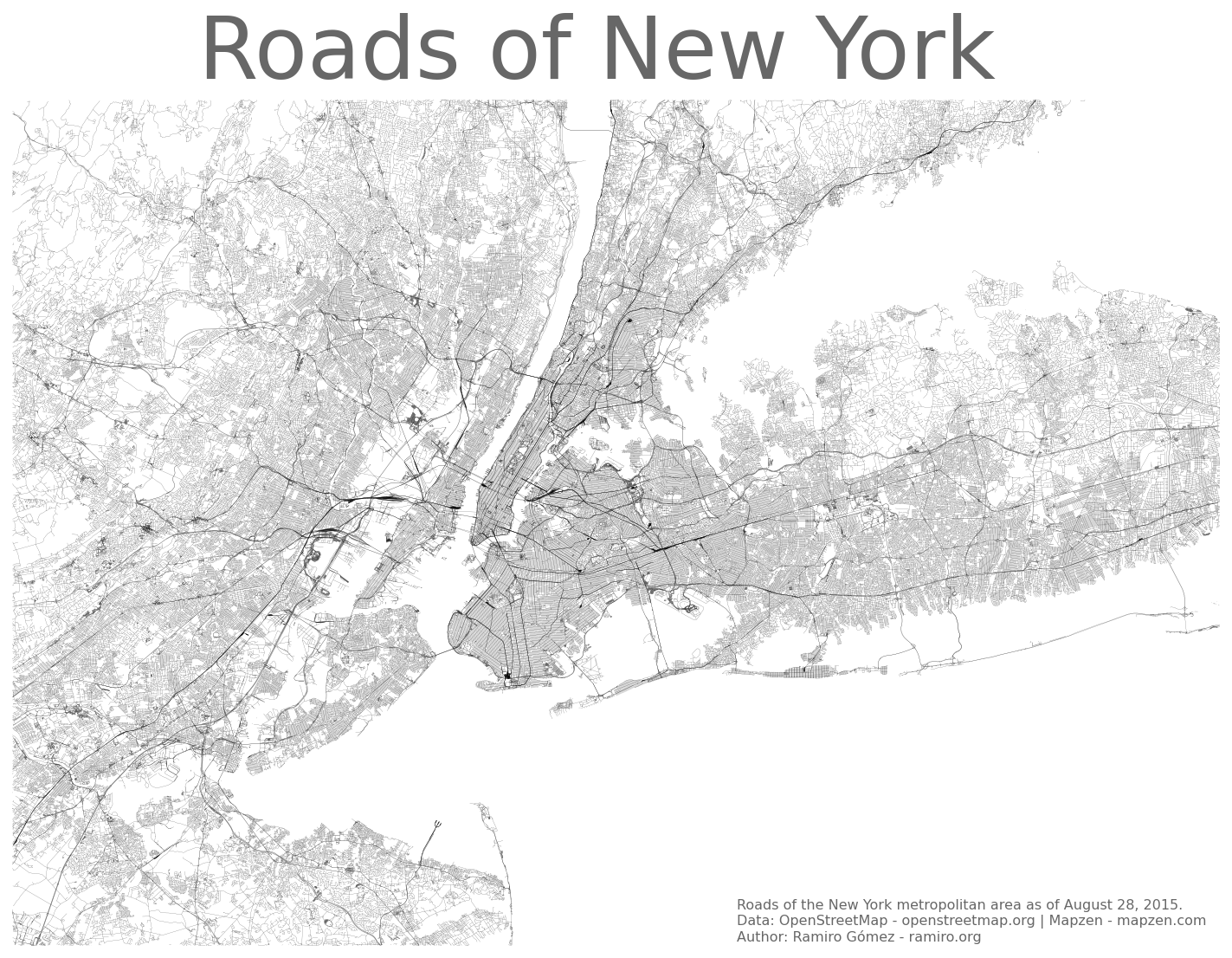 New York City metropolitan area drawn only from roads