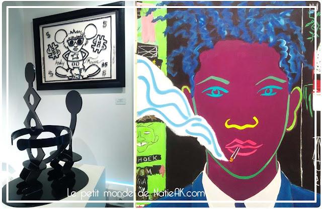 œuvres de Keith Hating et portrait de Jean-Michel Basquiat de Damian Elwes