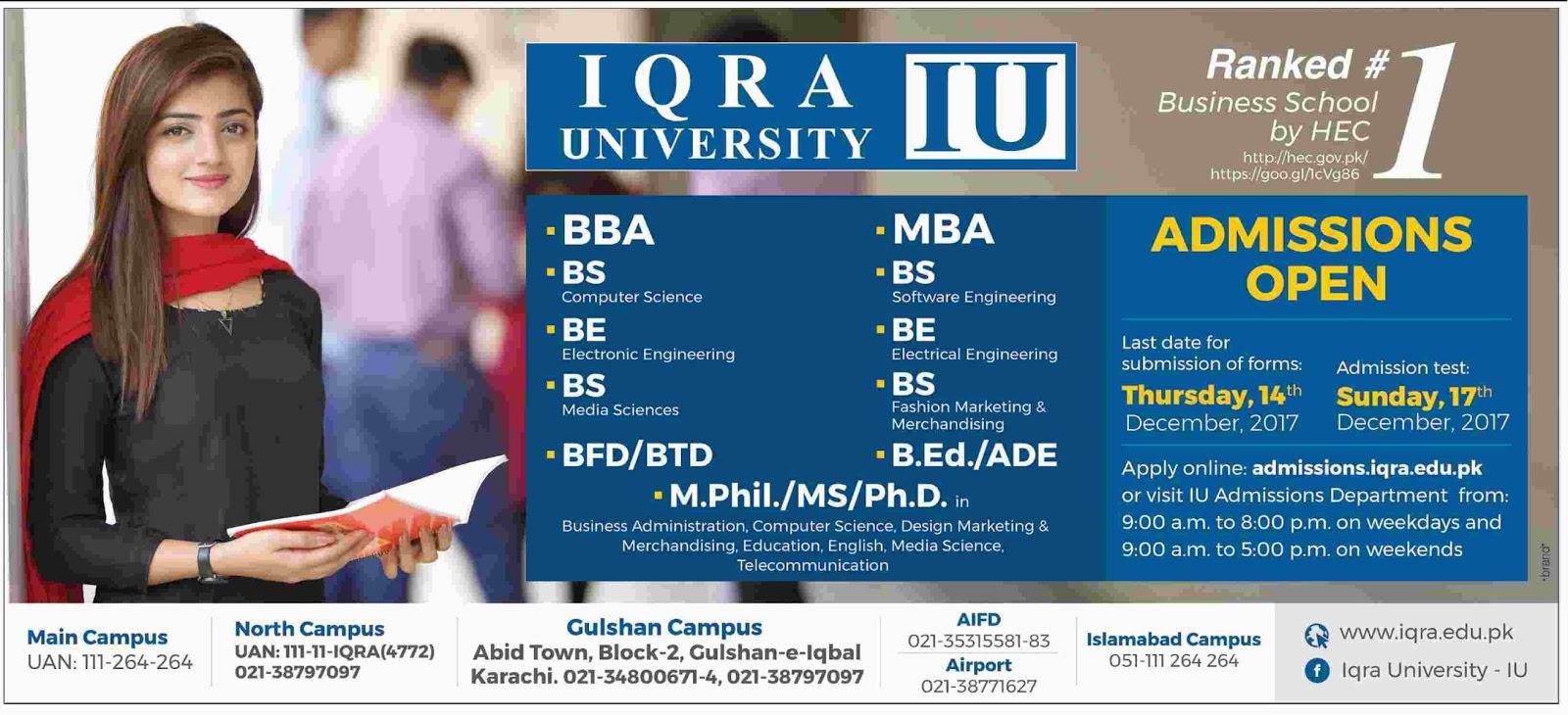 Admissions Open in Iqra University Karachi