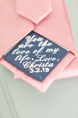 Brides gift to Groom; message on tie