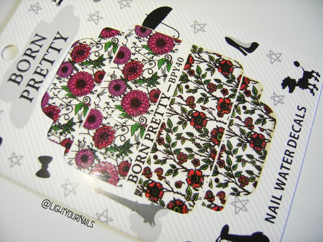 2 Patterns/1 Sheet BORN PRETTY BYP40 Flowers Chrysanthemum Nail Art Water Decals