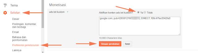 Fitur blogger Ads.txt